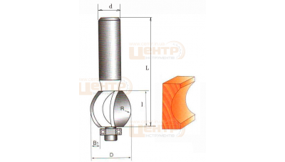 Фреза ГЛОБУС 1015 R5 кромочна галтельна з підшипником