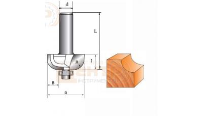 Фреза ГЛОБУС 1018 R25  d12 кромочна кальовочна