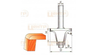 Фреза ГЛОБУС 2217 R18 d 12 кромочна фігурна з нижнім підшипником