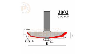 Фреза ГЛОБУС 3002 D103 d12 Фігирейна горизонтальна